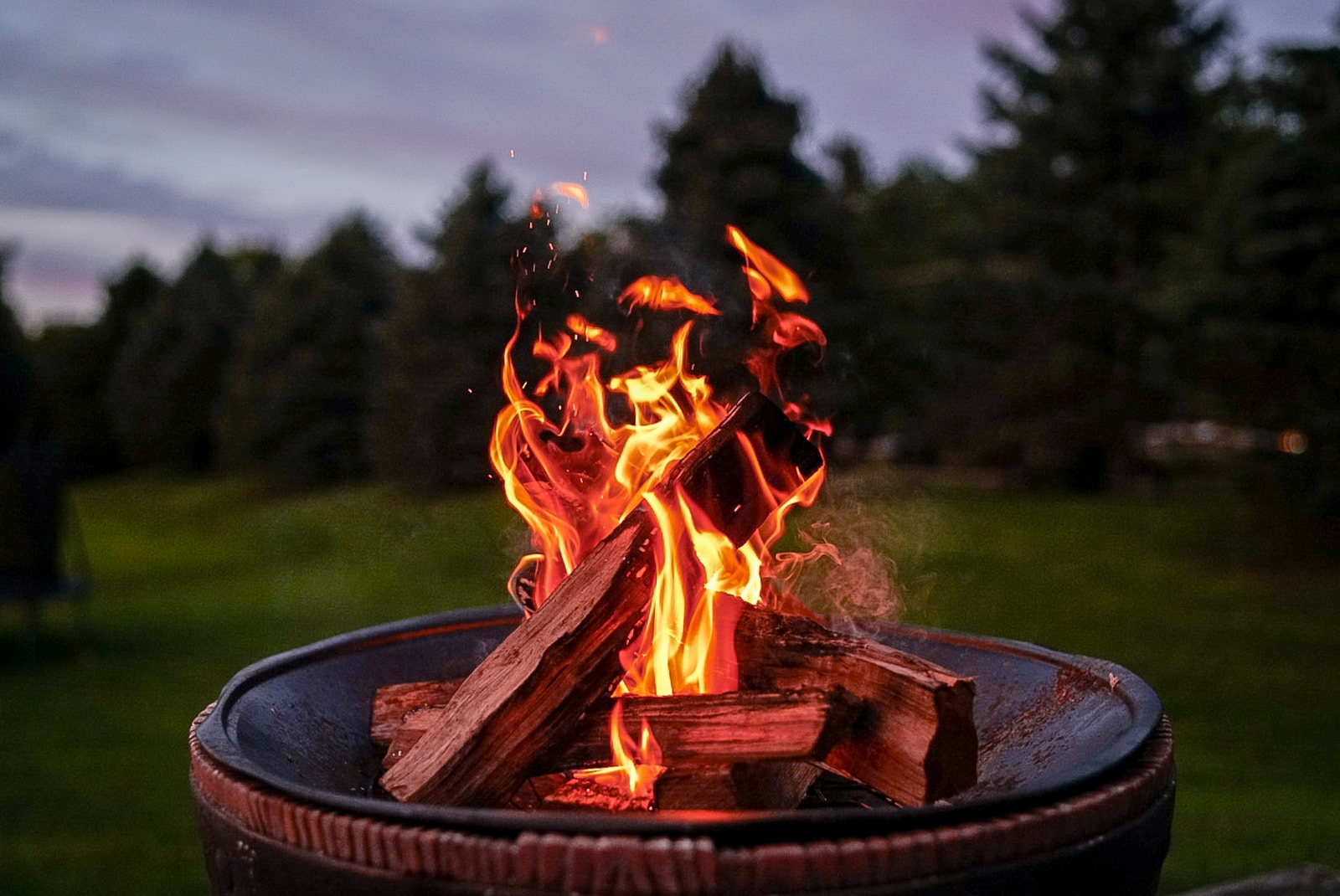 fire on brown fire pit